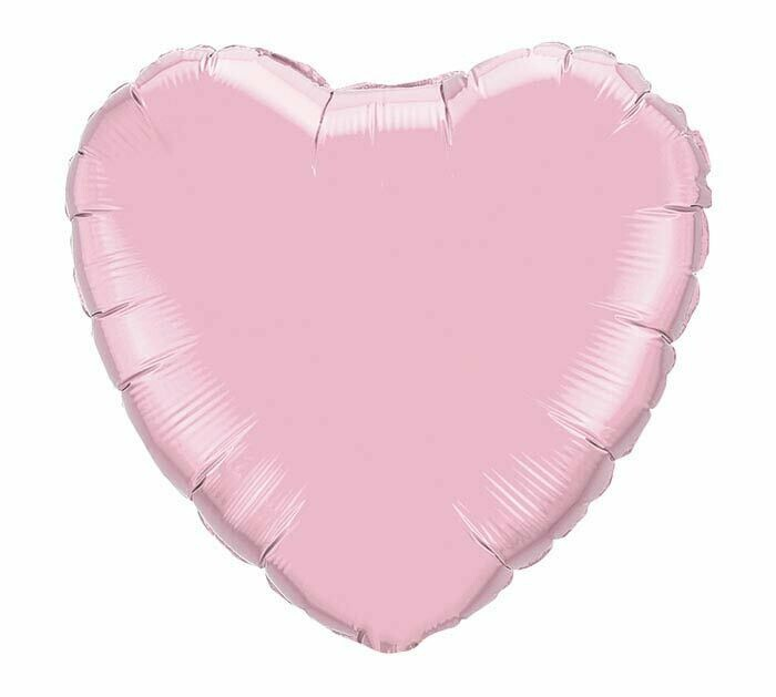 "18"" METALLIC HEART SOLID PEARL PINK"