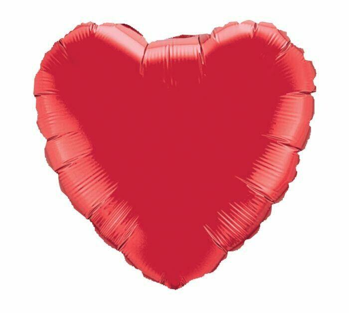 "18"" METALLIC HEART SOLID RED"