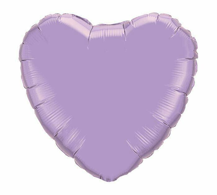 "18"" METALLIC HEART SOLID PEARL LAVENDER"