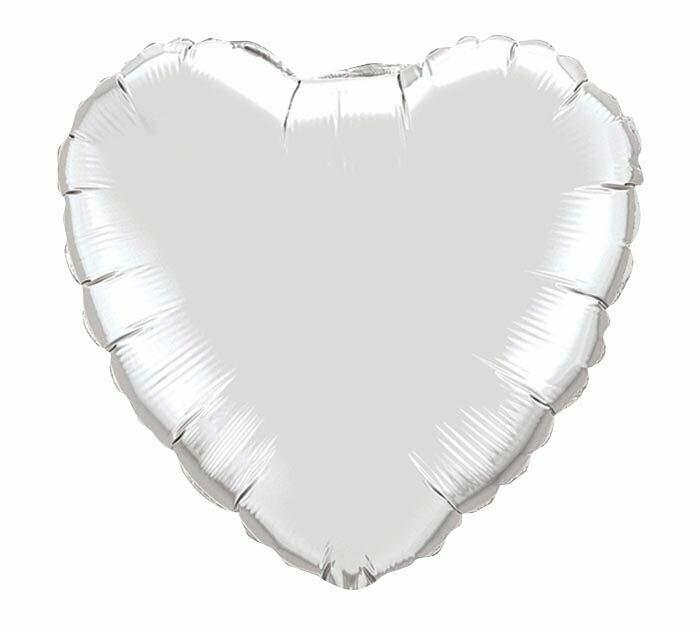 18 - METALLIC HEART SOLID SILVER