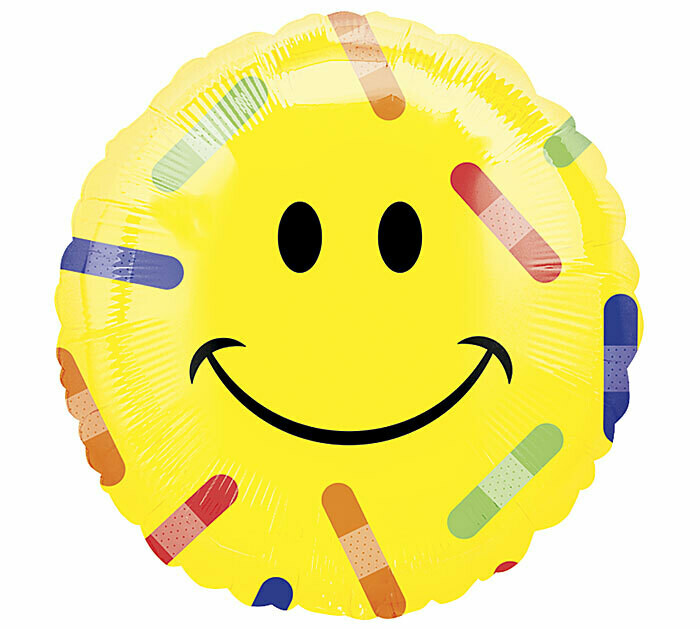 17 - SMILEY FACE WITH BRIGHT BANDAIDS