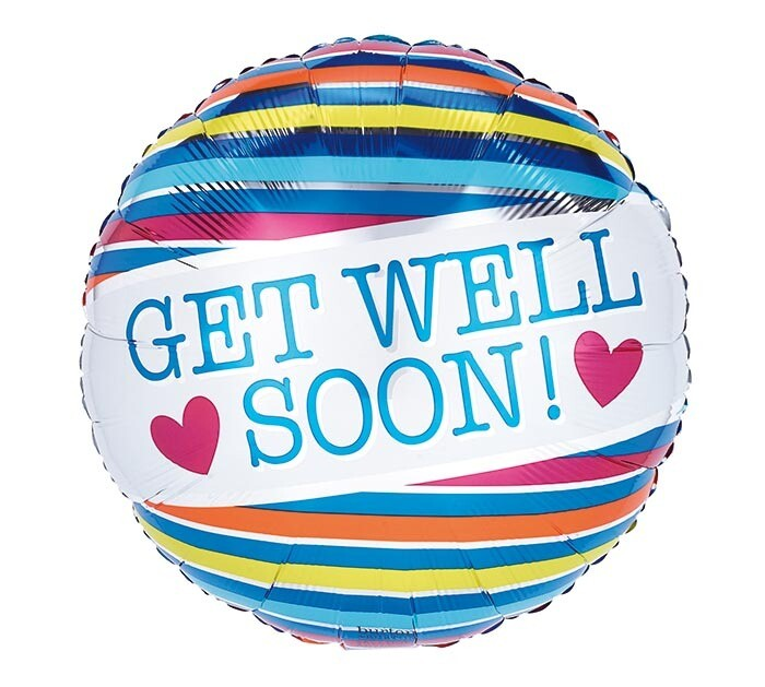 """17"""" GET WELL SOON STRIPES & HEARTS"""