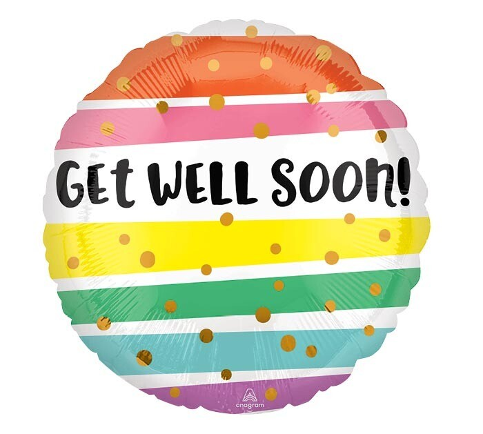 "18"" GET WELL BOLD STRIPES"