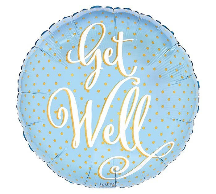 "17"" GET WELL W/GOLD DOTS"