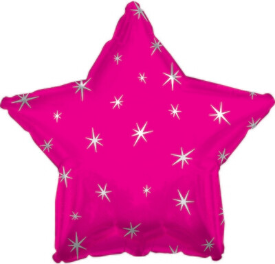 18 - METALLIC STAR W/STARS HOT PINK