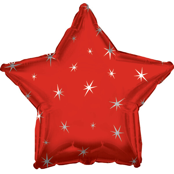 18 - METALLIC STAR WITH STARS RED