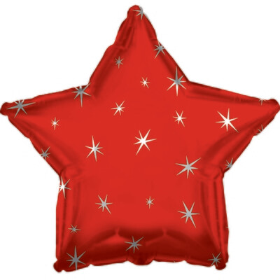 18 - METALLIC STAR W/STARS RED