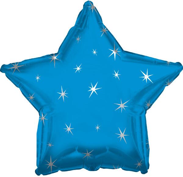 """18"""" METALLIC STAR W/STARS BLUE"""