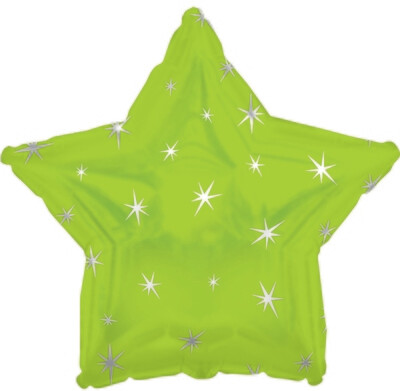 18 - METALLIC STAR W/STARS LIME GREEN
