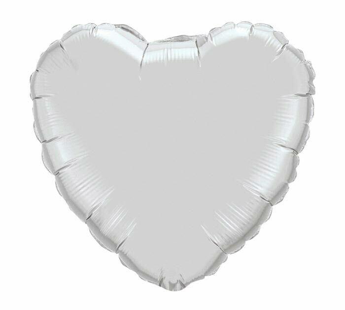 "18"" METALLIC HEART SOLID WHITE"
