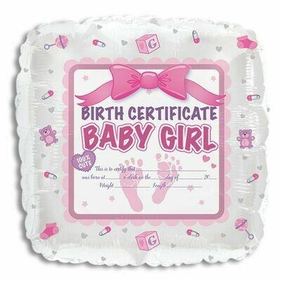 18 - BIRTH CERTIFICATE BABY GIRL