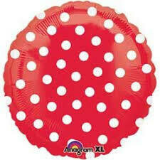 17 - COLOR W/WHITE DOTS RED