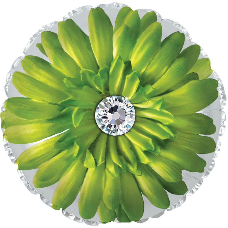 18 - FLOWER W/STONE CENTER LIME W/WHITE