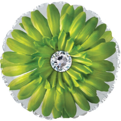 18 - FLOWER WITH STONE CENTER LIME WITH WHITE