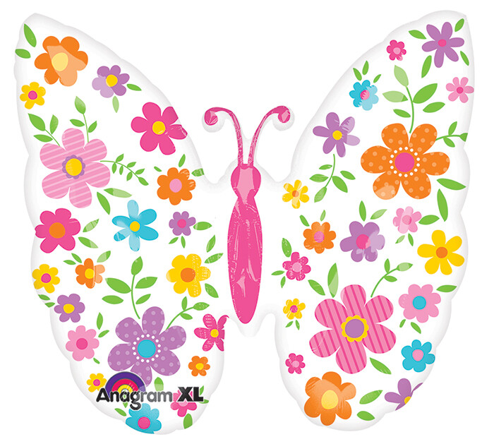 "25"" WHITE BUTTERFLY W/BRIGHT FLOWERS BALLOON"