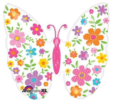 """25"""" WHITE BUTTERFLY W/BRIGHT FLOWERS BALLOON"""