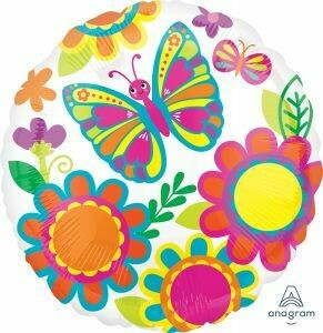 BRIGHT BUTTERFLIES & FLOWERS BALLOON