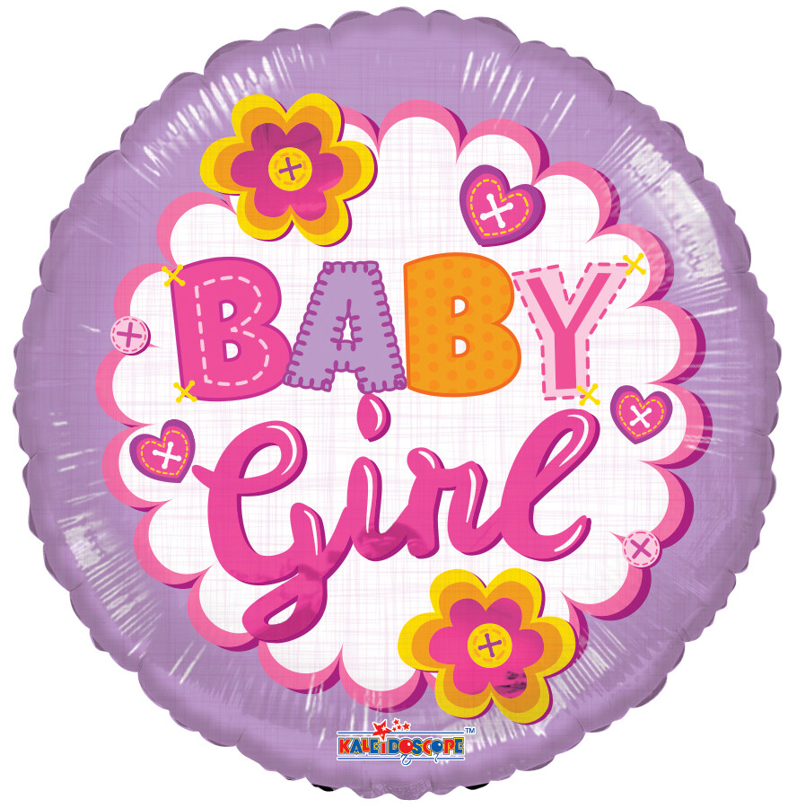 """18"""" BABY GIRL FLOWERS/BUTTONS"""