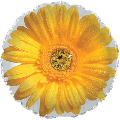 18 - FLOWER W/STONE CENTER YELLOW