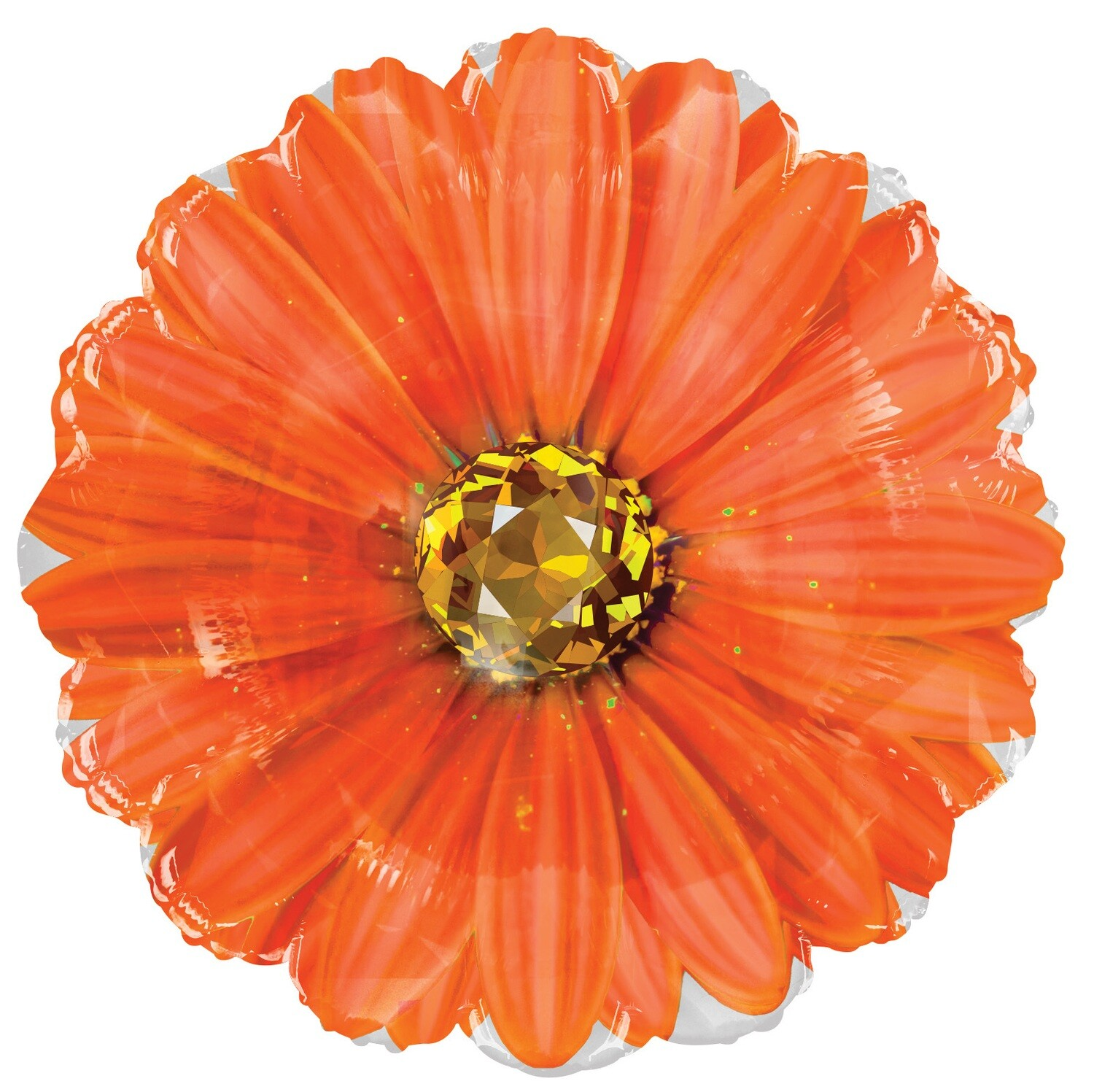 18 - FLOWER W/STONE CENTER ORANGE