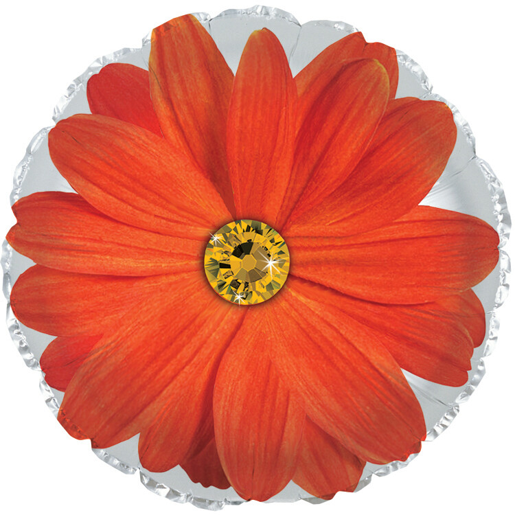 18 - FLOWER WITH STONE CENTER ORANGE WITH WHITE