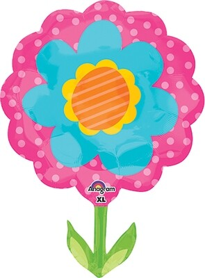 29 - JUMBO PINK ORANGE BLUE FLOWER