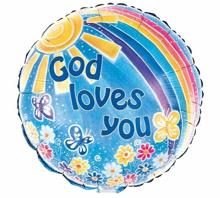 GOD LOVES YOU RAINBOW & FLOWERS BALLOON