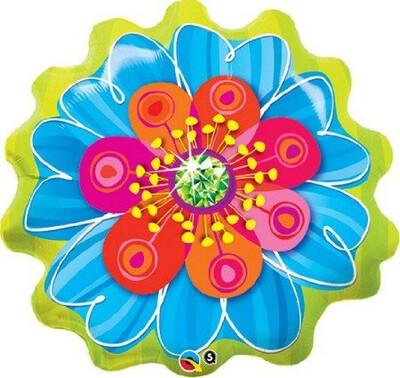 "31"" GREEN BLUE ORANGE FLOWER"