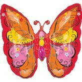 "26"" RED, PINK, ORANGE BUTTERFLY SHAPE"