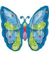 "25"" MULTI BLUE & GREEN BUTTERFLY SHAPE"