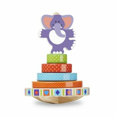 FIRST- PLAY BABY TOYS 30127-ELEPHANT ROCKING STACKER
