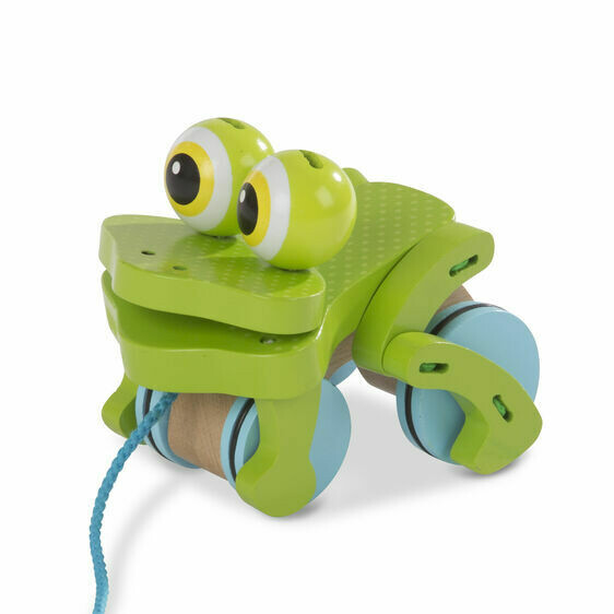 FIRST- PLAY BABY TOYS 3205-FROLICKING FROG PULL-TOY
