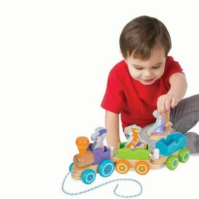 FIRST- PLAY BABY TOYS 4608-ROCKING FARM ANIMALS PULL TRAIN