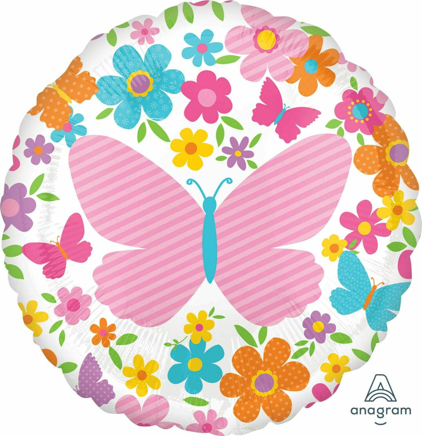18 - PINK BUTTERFLY AND FLOWERS