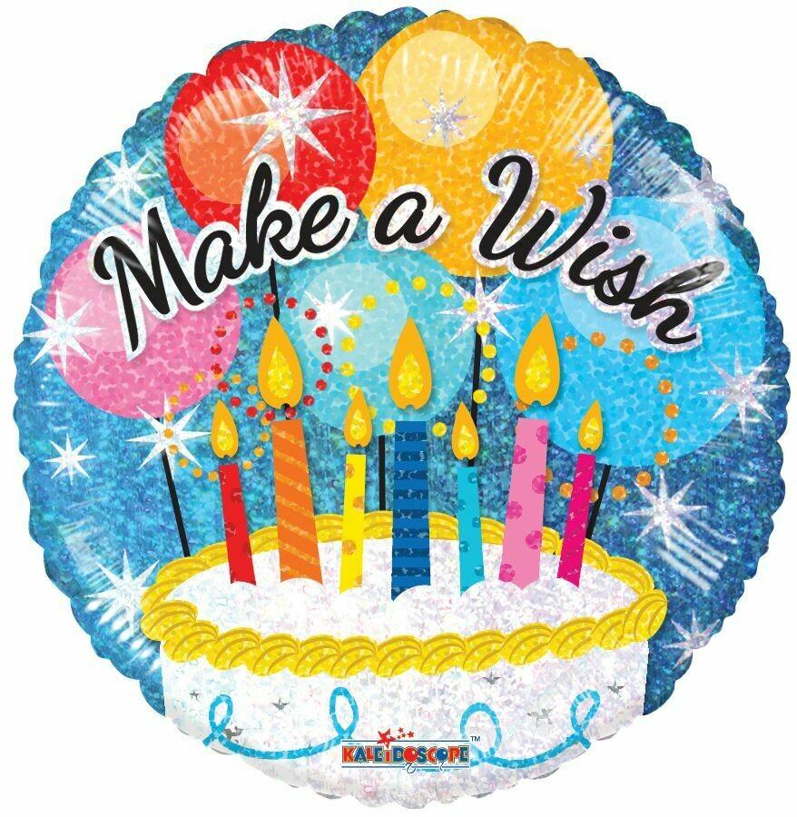 "18"" MAKE A WISH BIRTHDAY CAKE HOLOGRAPHIC"