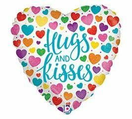 """18"""" HEART HUGS & KISSES BRIGHT HEARTS"""