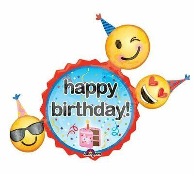 36 - BIRTHDAY EMOJI WITH CAKE AND HATS
