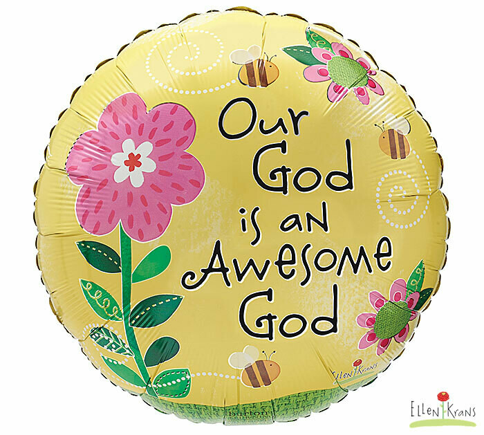 """18"""" YELLOW OUR GOD IS AN AWESOME GOD"""