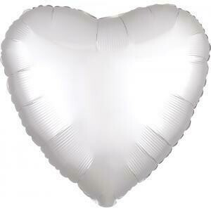 "18"" METALLIC HEART SOLID WHITE 2"