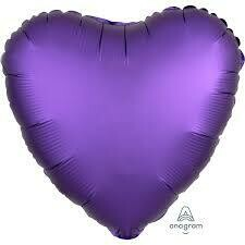 17 - SATIN HEART SOLID PURPLE ROYALE