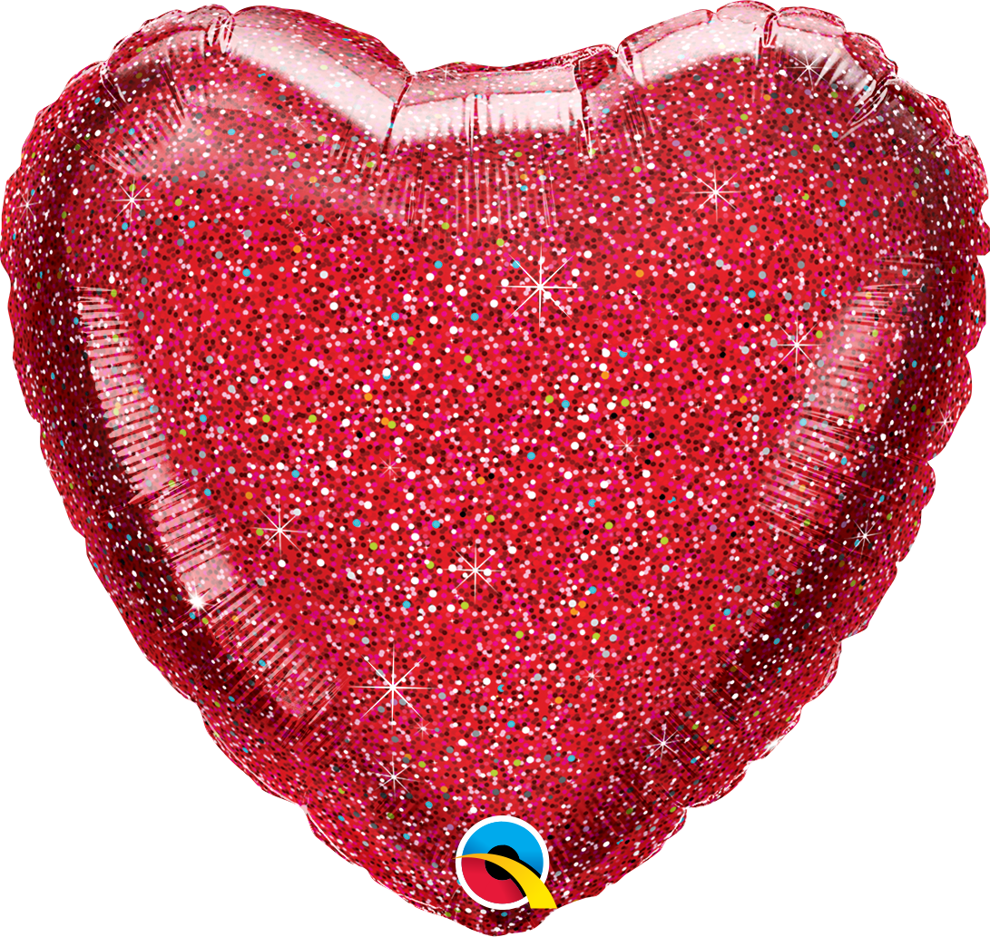 "GLITTERGRAPHIC HEART & STAR BALLOONS 18"" RED HEART"