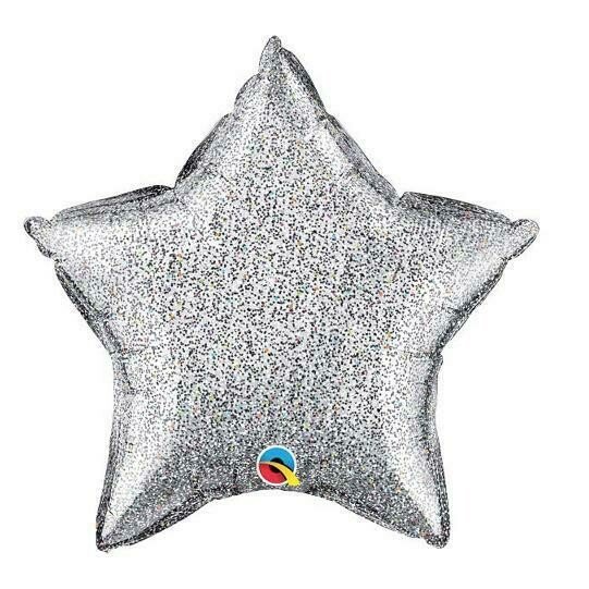 "GLITTERGRAPHIC HEART & STAR BALLOONS 20"" SILVER STAR"