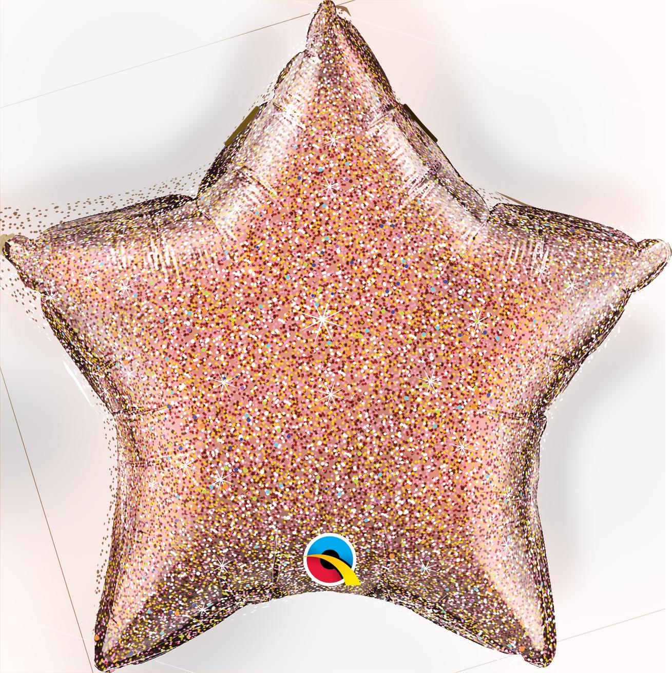 "GLITTERGRAPHIC HEART & STAR BALLOONS 20"" ROSE STAR"