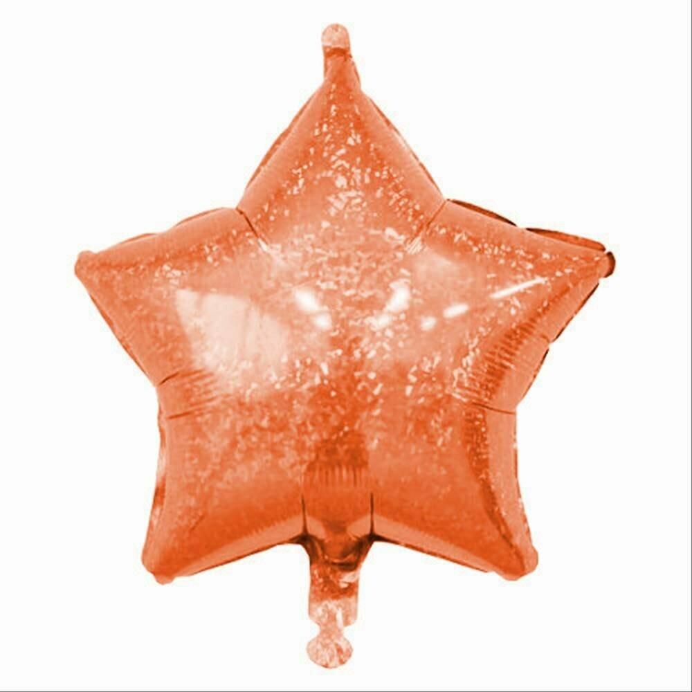HOLOGRAPHIC SOLID BALLOON ORANGE STAR