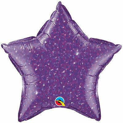 HOLOGRAPHIC SOLID BALLOON DARK PURPLE STAR