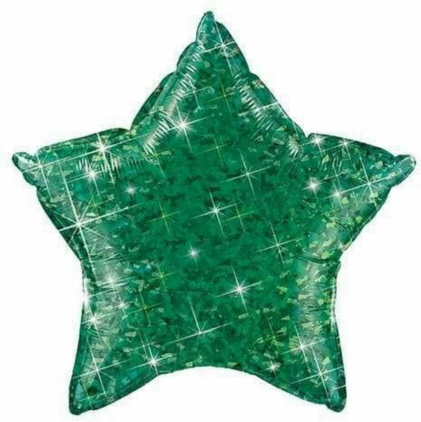 HOLOGRAPHIC SOLID BALLOON GREEN STAR