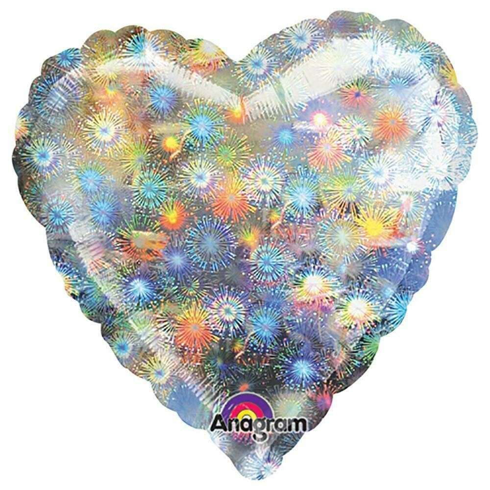HOLOGRAPHIC SOLID BALLOON SILVER HEART