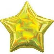 """17"""" IRIDESCENT/HOLOGRAPHIC SOLID YELLOW STAR"""