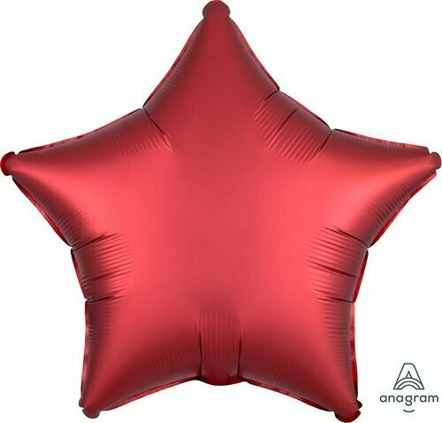 SATIN SOLID STAR BALLOON RED
