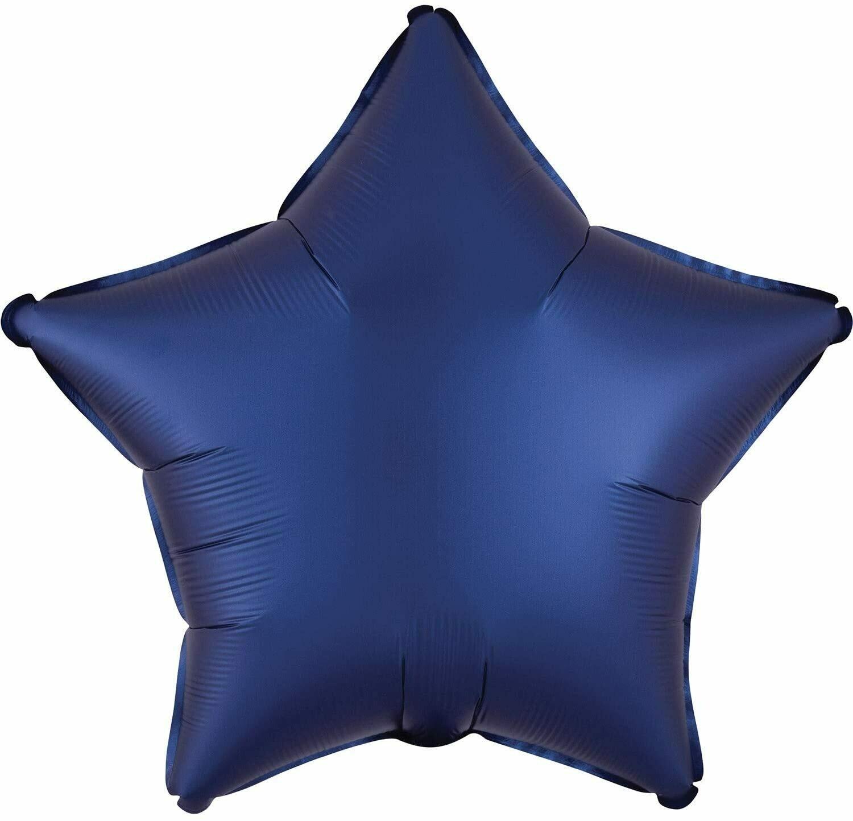 SATIN SOLID STAR BALLOON NAVY